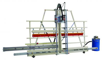 panel saw with dust collection and midway fence for processing small panels