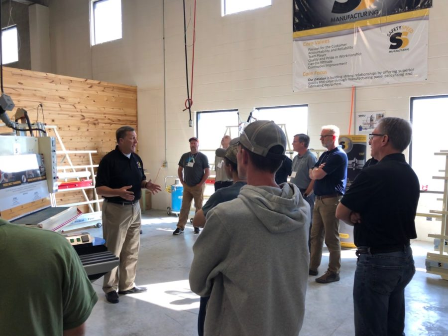 Vertical Panel Saws and Wide Belt Sanders on display in showroom of America's Leading Manufacturer of Vertical Panel Saws